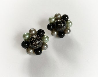 Vintage Faux Pearl and Plastic Tinsel Glitter Cluster Earrings Clip On