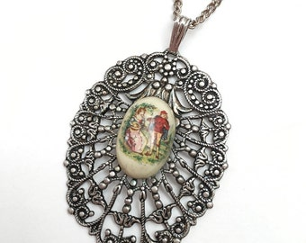 Vintage Silver Tone Metal Filigree Pendant Necklace