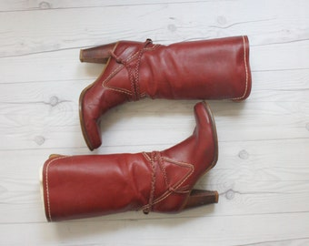 zodiac oxblood leather boots .  size 8 1/2