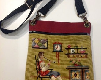 Grandfather Vintage Needlepoint Upcycled Into Shoulder/Waist/Cross Body Purse