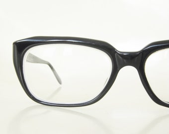Vintage 1960s Black Horn Rim Glasses Mens Eyeglasses Mad Men Mid Century Midnight Ebony 60s Sixties Retro Thick Retro Handsome Hipster