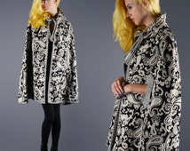 Vintage Cape 60's Tapestry Coat Boho Cape With  Tassel Ties Paisley Black and Ivory Jacket Size Small Medium Bust 36