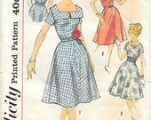 Simplicity 3044 UNCUT 1950s Square Neck SunDress Vintage Sewing Pattern Bust 34