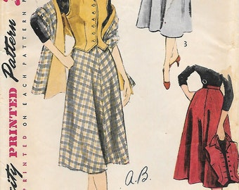 Simplicity 3712 1950s Skirt Weskit and Stole Vintage Sewing Pattern Size 14 Bust 32