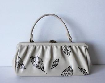 Vintage cream Purse with hand painted leaves / Woodland Wedding Purse / Brides Purse / Prom Purse