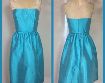 Alfred Sung Peau De Soie Strapless Party Dress in Robin's Egg Blue - Size 6