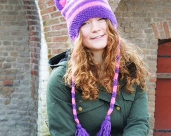 Knit Hat with Cat Ears - Purple Pink Stripes - Cheshire cat