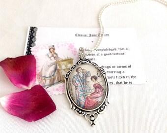Jane Austen necklace, Mansfield Park, UK postage stamp 1975, Jane Austen jewellery