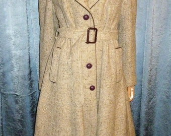 "Antique 30's - 40's - Brown - Tweed- Woolen - Princess Fit -Embellished Velvet Trim- Full Skirt - Coat - bust 40"" - size large"