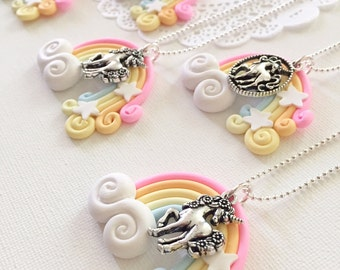 Unicorn, rainbow, pastel, kids, children, ball chain, necklace.
