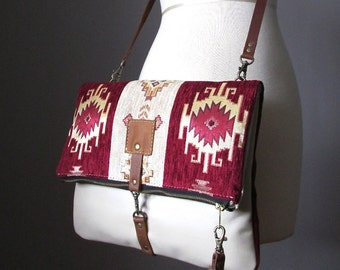 Fold over leather bag, leather clutch, bohemian clutch, gipsy bag, cross body bag, kilim bag, hippie bag, Aztec bag, leather bag, carpet bag