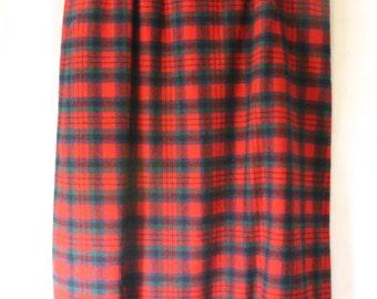 Vintage 1960s PENDLETON Red Tartan Plaid Wool Midi Skirt Size 14 Large