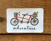 STICKER - Red Tandem Bicycle Adventure // Bumper Sticker / For Laptop / Cell Phone Sticker / Coffee Cup / Gift under 5