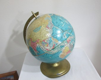 Large Globe Sculptural Relief Cram's Scope O Sphere 12 Inch