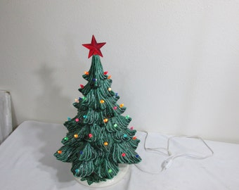 Ceramic Christmas Tree Lighted 17 Inch with Regular Light Bulb