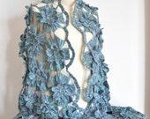 Blue Mermaid - Crcochet Multicolor 3D Flower Shawl/Wrap