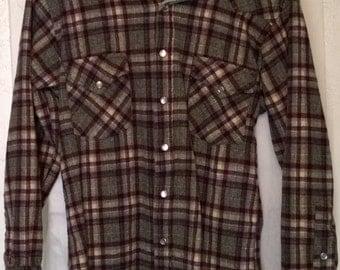 Vintage 1980s Pendleton Western Shirt High Grade Western Wear 100% Virgin Wool Made USA
