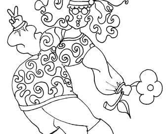 Hippie coloring page etsy for Hippie coloring book pages