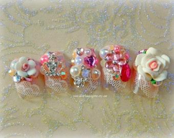 Kawaii Nails Rose Japanese 3D Nail Art-3D Press On Nail- False Nails, Kawaii Lolita, Cosplay, Princess Hime Gyaru  Pearl  Kawaii Fake Nails