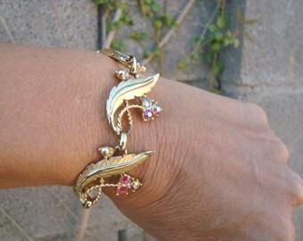 Vintage Purple Grape AB Rhinestones Gold Tone Metal Leaves Link Bracelet Signed Judy Lee