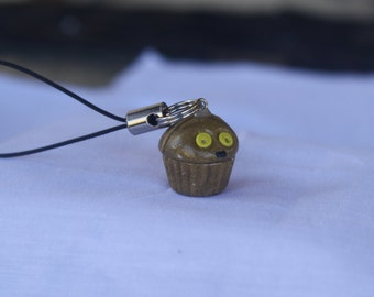 C-3PO inspired cupcake polymer clay charm- Star Wars inspired