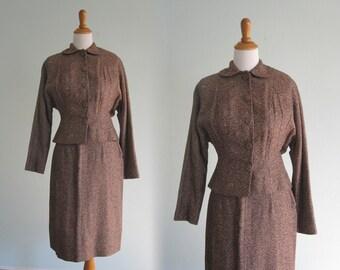 Gorgeous 40s Tweed Suit in Charcoal and Pumpkin - Vintage Womens Mid Century Suit - Vintage 1940s Suit M