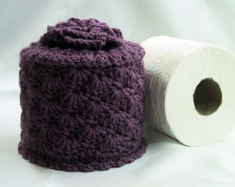 Cover Your Spare - Toilet Paper Cozy w- Flower on Top - Hand Crocheted Dusty Purple Acrylic Yarn - Toilet Paper Cover - Bed-Breakfast Decor