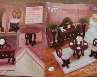 Vintage 1991 Plastic Canvas pattern Fashion Doll VICTORIAN DINING ROOM Set