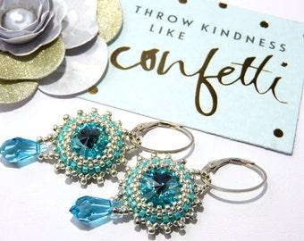Fine Jewelry Marie Antoinette Light Turquoise Rivoli Swarovski Crystal Earrings