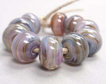 Bigger Pandora Swirls  - 10 Handmade Lampwork Beads SW 143