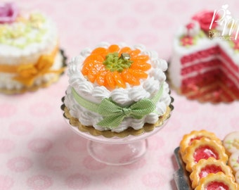 MTO-Cream Cake Decorated with Orange Segments and Chopped Pistachio - Miniature Food for Dollhouse 12th scale 1:12