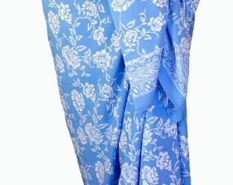 Beach Sarong Skirt Womens Clothing Sarong Pareo Wrap Skirt Baby Blue Swimsuit Cover Up Batik Sarong Hawaiian Flowers Sarong - Swimmer's Gift