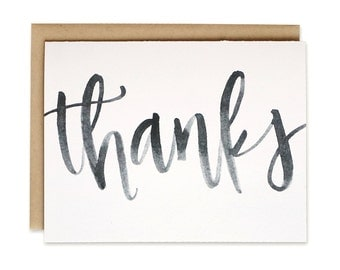Printable / Thank You Card / Watercolor Brush Lettering