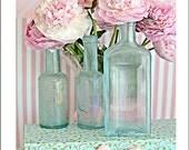 Peonies Photography, Shabby Chic Decor, Peony Prints, Romantic Peonies Vintage Bottles, Shabby Chic Peony Art, Pink Aqua Peony Prints Decor