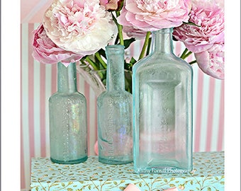 Peonies Photography, Shabby Chic Decor, Peony Prints, Romantic Peonies Vintage Bottles, Shabby Chic Peony Art, Pink Aqua Peony Prints Decor