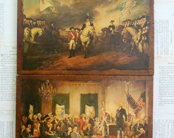 Awesome Vintage 1970's Scene At The Signing Of The Constitution and Surrender Of Cornwallis Prints Decoupaged On Wood Wall Hangings