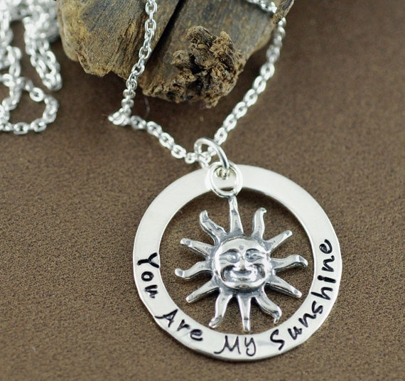 You are my sunshine Necklace, Hand Stamped Jewelry, Personalized Jewelry, Gift for Daughter, Mother's Day Gift, Gift for Mom, Gift for Her
