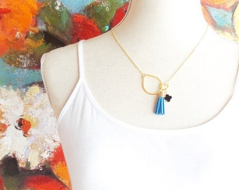 Eternity Circle Tassel Necklace - Interlocking Circle Charm Necklace - Suede Tassel Necklace - Blue Tassel - Lucky Clover Charm
