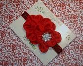 Red Flower Headband, Red Satin Glitter Headband, Christmas Headband, Baby Headband, Snowflake Bow Newborn Headband, Toddler Headband