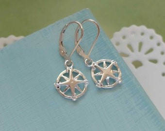 Compass Jewelry, Sterling Silver Earring, Compass Rose, Compass Earrings, Gift for Graduate, Graduation,  Gift for Travel Traveler New Job