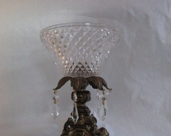 Centerpiece Brass Pedestal Bowl with Hanging Crystal's ~ Marble Base ~  ~Large  Crystal Diamond Cut Bowl Flawless