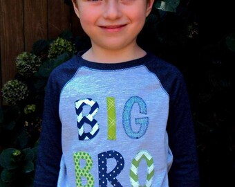 Big brother shirt- Big Bro shirt- big bro ragland shirt- Three Birthday Shirt- big brother tshirt