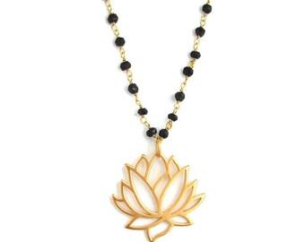 Mangalsutra Gold Necklace- Awakening Large Lotus Necklace- Spinnel Gemstones, Yoga Inspired Jewelry, Gemstone bead Necklace, Bohemian Chic