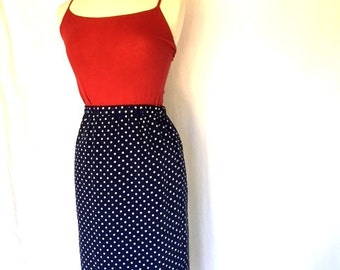 Vintage BLUE and WHITE Polka Dot Pencil Skirt - Size Small Medium