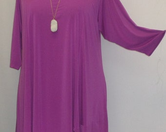 Coco and Juan, Lagenlook, Plus Size Tunic, Asymmetric, Womens Tunic Top, Fuchsia,  Knit Size 2, (fits 3X,4X)  Bust 60 inches