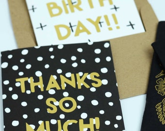 Thank You Card, Gold Foil, Happy Mail, Thanks So Much Card, Gold and Black Card, Say Thank You, Modern Thank You Card, Polka Dot Thank You