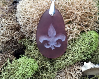 Fluer De Lis symbol pendant - Perfection, Light, and Life -engraved Sea Glass Jewelry - choose your color