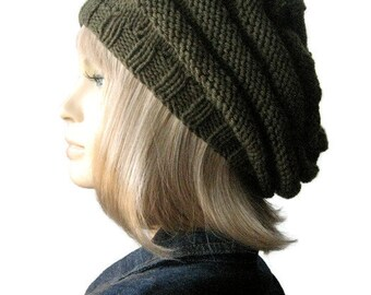 Moss Green Hand Knit Hat, Beehive Beret, Green Slouchy Beanie, Womens Accessories - Made to Order