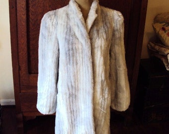 Vintage Faux Fur Silver Grey Mink Coat Sasson Leather 1970s Gypsy Bohemian Chic Hollywood Regency