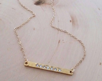 Last one! Horizontal Gold Bar CZ necklace. Diamond look. Hammered. Vermeil. Layer. Bridesmaid. Cubic zirconia. Boho chic. Gift. Simple. Brid